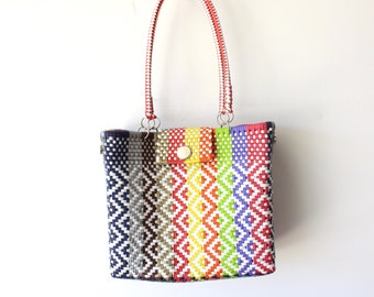 Colorful Mexican woven plastic bag with long handles,  Mexican Tote, Oaxacan Mexico Woven Handbag, Ethnic Mexican Purse