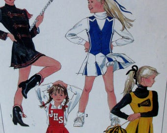 Vintage 1988 Simplicity Girls Cheerleader / Majorette Costume Sewing Pattern #8786   Size 8