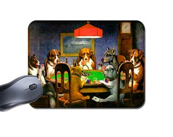 Dogs Playing Poker Mouse Mat. Cassius Marcell Coolidge. High Quality Computer Mouse Pad