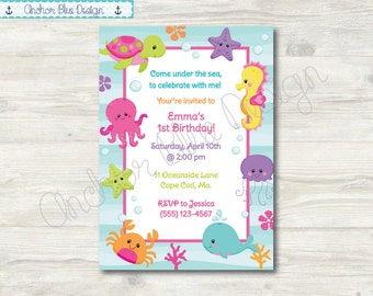 Under The Sea Birthday Invitation - Girl
