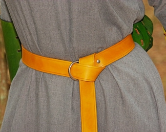 Leather Ring Belt in Yellow