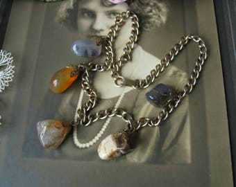 Vintage 1950's Gold Plated Polished Agate Choker Necklace, Vintage Agate Choker, Vintage Choker Necklace, Vintage Agate Necklace