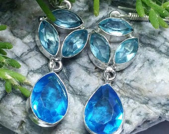 Aquamarine and Blue Topaz Sterling Silver Gemstone Crystal Earrings March December Birthstone Earrings Healing Spiritual Holistic Gift Irish