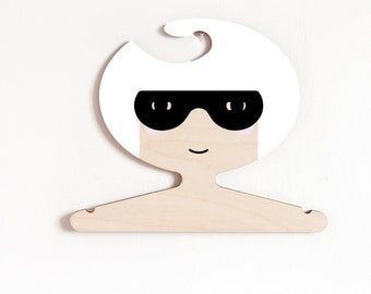 Super hero girl with white hair - wooden clothes hanger