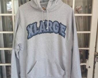 Vintage Xlarge hooded spellout /grey/Large/japan style/hip hop