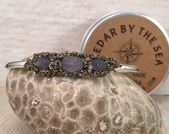 Tanzanite December Birthstone Bangle BRACELET, Simple and Elegant, Gift for Teenager, Gift for BFF, Gift for girlfriend, Raw Stone bracelet