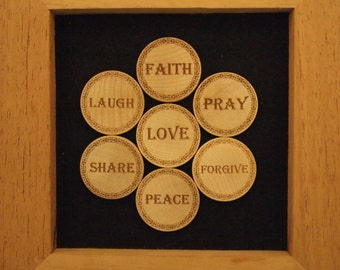 Words to Live By 7-Piece Wooden Nickel Magnet Set