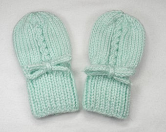 Green Baby Mittens - Hand Knit Thumbless Acrylic Gloves Fits 0 to 12 Months