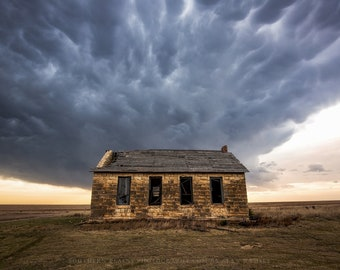 Western Wall Art Photography Print - Picture of Abandoned Place on Kansas Plains Under Stormy Sky Rustic Country Home Decor Old Houses Photo