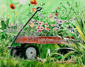 """Flower Garden, Vinca, Poppies, Red Wagon, Pink, Red, Green, Watercolor Painting Print, Wall Art, Home Decor, """"Radio Flyer"""" by Judith Stein"""
