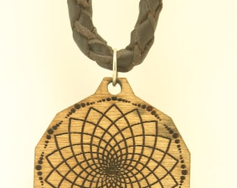 LEATHER NECKLACE with crop circle wood pendant