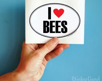 I love bees vinyl bumper sticker