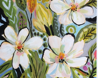 Flower Painting Magnolia Garden Flowers Painting on 18 x 24 Paper by Karen Fields