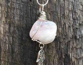 Rose Quartz, Love Stone, Self Healing & Helps to Restore Self Love, Heart Chakra, Crystal Love Necklace, Helps Promote Peace   and Calmness