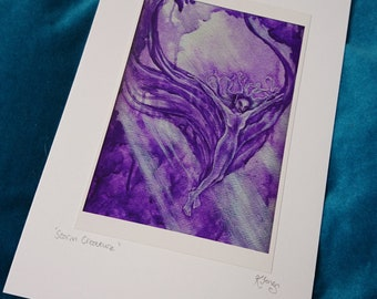 Purple Fairy Spirit Card - Storm Creature - Fantasy Art Card - Winged nude Fae Angel, silver light, reduced price, painting, mythical, blank