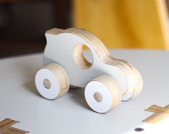 Hatchback Wooden Car, Push Toy | White, Black or Grey | Handmade, Cute, Minimal, Modern Plywood Toy | A Great Gift for Boys or Girls.