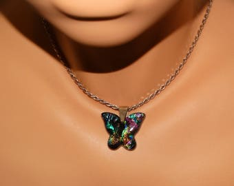 Sterling Silver Thick Rope Chain & Dichroic Buterlfly Pendant Necklace.