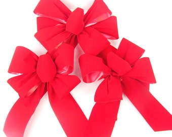 Christmas Wreath Bows -  Set of 3 Red Indoor / Outdoor Bows, red christmas bows, red outdoor bows, red velvet bows, weatherproof bows
