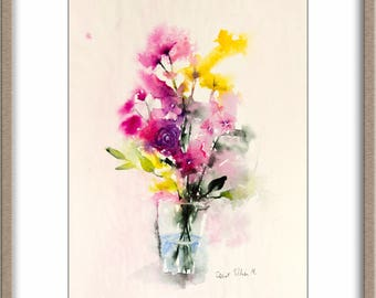 Flowers watercolor,Original painting, Original Watercolour, Watercolor, flower painting, bunch of flowers