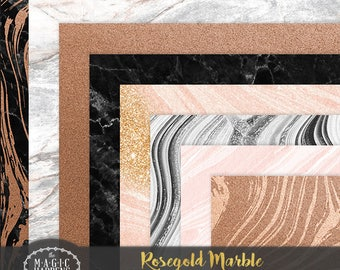 Rose Gold Marble Digital Paper, Rosegold Background, Marble Pattern, Rose Gold Wedding, Rosegold Marble Invitation, Rosegold Scrapbook
