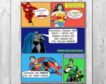 DC JUSTICE LEAGUE Comic Book Birthday Party Invitation, Batman, Superman