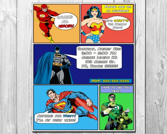Dc justice league comic book birthday party invitation stopboris Choice Image