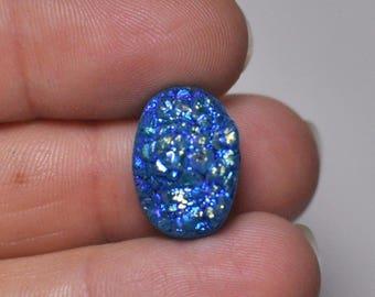 Natural Bright Blue Titanium Druzy Quartz Cabochon Gemstone Oval Shape Ring size 17x12x10 mm. 12.90 Cts.