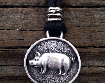Pig Pewter Pendant | Animal Jewelry | Pig Jewelry | Farmer Jewelry | Handcrafted Jewelry | by Treasure Cast Pewter