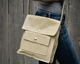 Ivory Crossbody Bag, Ivory Leather Satchel, Ivory Leather Bag, Ivory Leather Purse, Ivory Handbag, Ivory Cross Body Bag, Ivory Messenger Bag