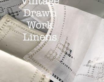 Vintage Drawn Work Set Doilies or Luncheon Napkins and Table Runner Crisp White Linen 8 Pcs Wedding Decor Dresser Scarf Farmhouse Whitework