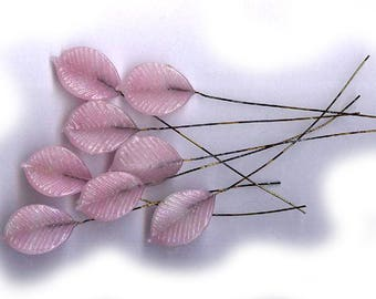 vintage GLASS LEAVES on wire pale PINK brass stem eight bendable glass art glass leaves antique glass findings