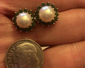 Estate Hallmarked 14 Karat Yellow Gold Cultured Pearl Emerald Surround Stud Earrings
