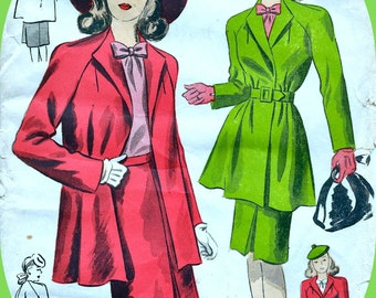 RARE * 1940s DuBarry  Pattern 5933 *  Stunning Misses' Wrap Swing Coat and Skirt  * Size 12 *  Bust 30