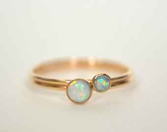 Set Three Gold Filled Opal Rings Gold Opal Ring Opal Ring
