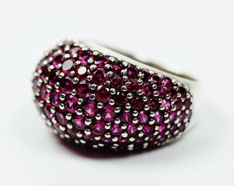 Minimalist Style (1970-Present) Sterling Silver Pink Cubic Zirconia Ring Size: P 1/2-7 3/4