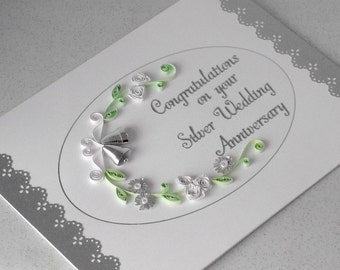 Paper quilling 25th anniversary card, silver wedding, quilled