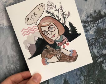 Log Lady Quirky Blank Card