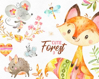 Cute Forest 3. Watercolor little animals clipart, fox, mouse, wild boar, branches, wreath, floral, greeting, babyshower, woodland, nice, cft