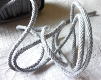Grey cotton rope light 5 mm, macrame weaving, cord, DIY crafts - by the yard