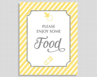 Yellow Food Table Sign, Yellow Stripe Baby Shower Table Sign, Food Sign,  Gender Neutral, INSTANT PRINTABLE