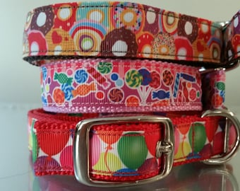 Metal Buckle Dog Collar Donuts, Candy, and Balloons Dog Collars - 1 inch wide - Metal Buckle, Plastic Buckle