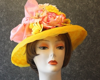 Yellow Kentucky Derby Hat, Derby Hat, Garden Party Hat, Tea Party Hat, Easter Hat, Church Hat, Wedding Hat, Downton Abbey Yellow Hat 747
