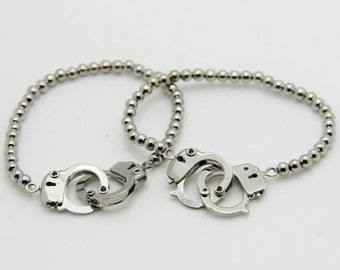Bracelet handcuffs and pearls steel symbol of love
