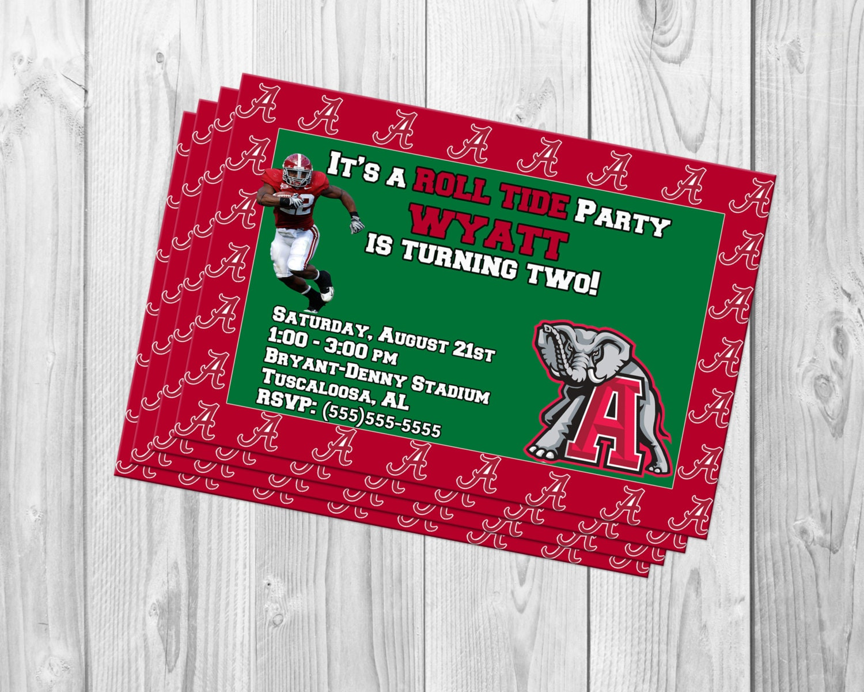 ALABAMA FOOTBALL BIRTHDAY party invitations. Alabama Crimson