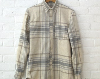 Gray and Beige Wool Plaid Buttondown with Quilted Detail // Small
