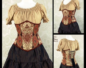 Steampunk Renaissance Russet, Gold, & Brown Steel Boned Corset -- You Choose Your Corset Style -- Custom Sized
