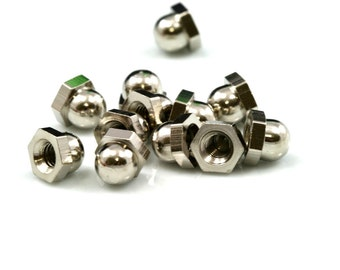 Hex Cap Nut 5 pcs Nickel Plated Brass M5