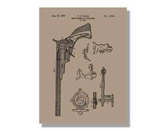 Beretta handgun military and weapons patent poster colt firearm improvement military and weapons patent poster blueprint style screen print hand made wall art in multiple colors malvernweather Images