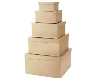 "Paper Mache Boxes -  Square - Set of 5 -  Aprox. 6"", 8"", 10"", 12"" & 14"""
