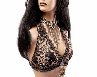 Halter, D or DD Cup, Dark Gold Lace, Brass, Black, Bellydance, Costume, Tribal, Fusion, Sequins, Hoop, Circus, Carnival, Bra